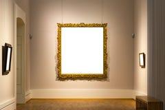 Tom vägg för Art Museum Isolated Painting Frame garnering inomhus arkivfoto