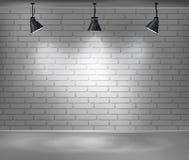 tom vägg för tegelsten Tomt rum är upplyst vid tre lampor Bakgrund för annonsering inomhus stock illustrationer