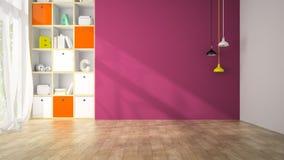 Tom vardagsrum med den purpurfärgade tolkningen för vägg 3D Royaltyfria Bilder