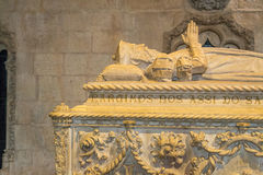 Tom of Vasco da Gama inside the Jeronimos Monastery (Lisbon, Por. Jerónimos Monastery finished in 1601 is one of the icons of the Manuelian style of Stock Image