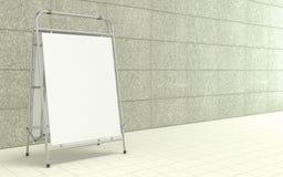 Tom vit advertizingställning, med kopieringsutrymmebrädet framme av betongväggen 3d stock illustrationer