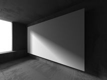 Tom vit baneraffischtavla på betongväggen Arkitekturfunktionsläge Arkivbilder