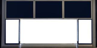 Tom vit, den svarta skärmaffischtavlan och skylten för annonserar arkivbilder
