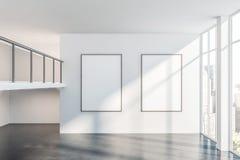 Tom vit kontorskorridor med affischgallerit royaltyfri illustrationer