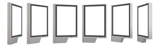 Tom vit pylonmodell, sidosikt som isoleras, tolkning 3d Tom åtlöje för advertizingaffischtavla upp Klar utomhus- affischmall stock illustrationer