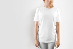 Tom vit t-skjorta designmodell, Royaltyfria Foton