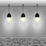 Tom vit vägg med lampor Arkivbild