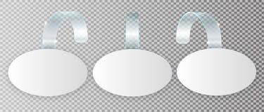 Tom vit wobblerhängning på väggåtlöje upp, tolkning 3d Göra mellanslag den runda pappers- modellen på plast- genomskinlig remsa c vektor illustrationer