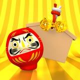 Tom Votive bild, Daruma docka på guld stock illustrationer