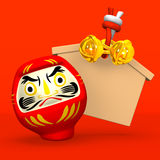 Tom Votive bild, Daruma docka på rött royaltyfri illustrationer