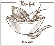 Tom yam in deep bowl with spoon from Thai food. Delicious hot sour and spicy soup based on chicken broth with king shrimps isolated cartoon flat monochrome Royalty Free Stock Photo