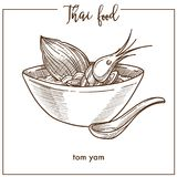 Tom yam in deep bowl from Thai food. Tom yam in deep bowl with wooden spoon from Thai food. Sour and spicy soup based on chicken broth with delicious king Royalty Free Stock Images