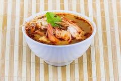 Tom yam kung cup Thai food Stock Image