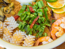 Tom Yam Kung with instant noodles. Thai food Tom Yam Kung with instant noodles Royalty Free Stock Photos