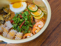 Tom Yam Kung with instant noodles. Thai food Tom Yam Kung with instant noodles Royalty Free Stock Image