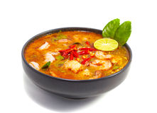 Tom Yam Kung. Soup isolated on white background Stock Photo