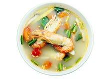 Tom Yam Kung (Thai cuisine) isolate. Tom Yam Kung (Thai cuisine) spicy soup with shrimp isolate Royalty Free Stock Image