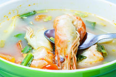 Tom Yam Kung (Thai cuisine). Spicy soup with shrimp Stock Photo
