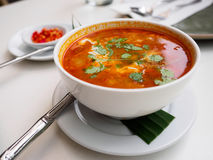 Tom Yam Kung - Thai Food. At restaurant royalty free stock photo