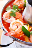 Tom Yam Kung, a Thai traditional spicy prawn soup Stock Photo
