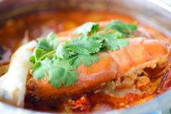Tom yam kung. Or Tom yum, Tom yam is a spicy clear soup typical in Thailand and No.1 Thai Dish Cuisine Stock Image