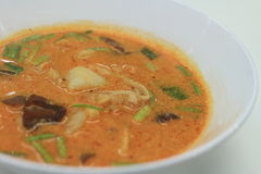 Tom yam nam khon soup. Close up tom yam the hot and spicy favorite thai food royalty free stock photo
