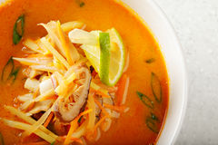 Tom Yam soup above view Royalty Free Stock Photography