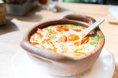Tom yam soup. Prawn and lemon grass soup with mushrooms Stock Photos