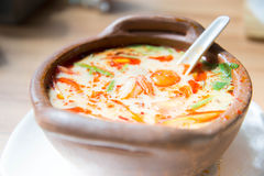 Tom yam soup. Prawn and lemon grass soup with mushrooms Royalty Free Stock Photos