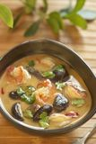 Tom yam soup with shrimps, mushrooms and coconut milk Royalty Free Stock Images