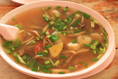 Tom yom mushrooms with prawn Stock Images