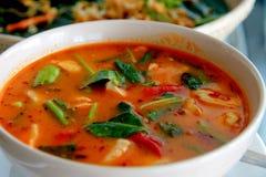 Tom Yum Chicken Soup, fondo tailandés de madera del estilo de la cuchara Foto de archivo