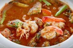 Tom Yum fez do camarão, é um alimento picante fotografia de stock