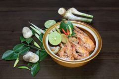 Tom Yum Goong cancela a sopa tailandesa da sopa, a quente e a ácida, alimento, culinária Imagens de Stock