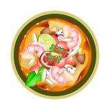 Tom Yum Goong eller thailändsk kryddig sur soppa med räkor Arkivfoton