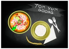 Tom Yum Goong with Rice on Chalkboard Banner. Thai Cuisine, Tom Yum Goong or Traditional Thai Spicy and Sour Soup with Prawns on Chalkboard Banner. One of The Stock Image