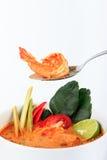 Tom Yum Goong, sopa quente e ácida do estilo tailandês do camarão fotos de stock