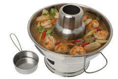 Tom Yum Goong soup, fire pot Royalty Free Stock Photography