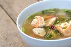 Tom Yum Goong soup, thailändsk mat Arkivfoto