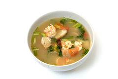 Tom Yum Goong soup with shrimp , Thai food Royalty Free Stock Photo