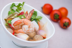 Tom Yum Goong spicy soup with shrimp,thai food with ingredient f Royalty Free Stock Image