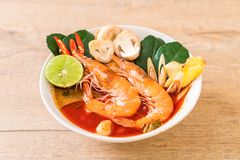 Tom Yum Goong Spicy Sour Soup imagem de stock royalty free