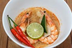 Tom Yum Goong Spicy Sour Soup, alimento tailandês o fotografia de stock