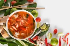 Tom Yum Goong tailandês ou sopa picante de tom yum com camarões dos camarões imagem de stock