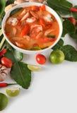 Tom Yum Goong tailandês ou sopa picante de tom yum com camarões dos camarões foto de stock