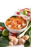 Tom Yum Goong tailand?s ou sopa picante de tom yum com camar?es dos camar?es fotos de stock royalty free
