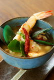 Tom Yum Goong, Thai Food. Tom Yum Goong, Thai spicy soup with shrimps, a national dish of Thailand royalty free stock image
