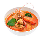 Tom Yum Goong - Thai food. Tom Yum Goong - Thai hot and spicy soup seafood with shrimp - Thai Cuisine Stock Photography