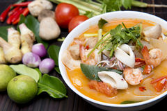 Tom Yum Goong thai food with ingredient for cooking Royalty Free Stock Images
