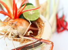 Tom Yum Goong. Thai hot and spicy soup seafood with shrimp - Thai Cuisine Stock Photo